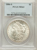 Morgan Dollars: , 1886-S $1 MS62 PCGS. PCGS Population (1098/3216). NGC Census:(653/1785). Mintage: 750,000. Numismedia Wsl. Price for probl...