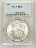 Morgan Dollars: , 1890 $1 MS64 PCGS. PCGS Population (3486/395). NGC Census:(4041/306). Mintage: 16,802,590. Numismedia Wsl. Price for probl...