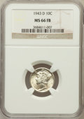 Mercury Dimes: , 1943-D 10C MS66 Full Bands NGC. NGC Census: (2014/602). PCGSPopulation (3553/643). Mintage: 71,949,000. Numismedia Wsl. Pr...