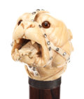 Decorative Arts, Continental:Other , CARVED IVORY AND WOOD DOG CANE. Circa 1900. 33-1/4 inches overalllength (84.5 cm). ...
