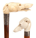 Decorative Arts, Continental:Other , TWO CARVED IVORY AND WOOD GREYHOUND DOG CANES . Circa 1900. 37-1/4inches length of bowing head dog cane (94.6 cm). 35-1/2 i...(Total: 2 Items)