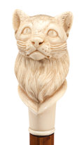 Decorative Arts, Continental:Other , CARVED IVORY AND WOOD CAT CANE . Circa 1900. 38-1/4 inches overalllength (97.2 cm). ...