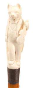 Decorative Arts, Continental:Other , CARVED IVORY AND WOOD ANTHROPOMORPHIC FELINE CANE. Circa 1900.38-1/2 inches overall length (97.8 cm). ...
