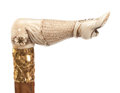 Decorative Arts, Continental:Other , CARVED IVORY AND WOOD VICTORIAN LADY'S LEG CANE. Circa 1900 .35-1/4 inches overall length (89.5 cm). ...