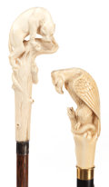 Decorative Arts, Continental:Other , CARVED IVORY AND WOOD LION CANE AND CARVED IVORY AND WOOD EAGLECANE . Circa 1900 . 39 inches overall length of lion cane (9...(Total: 2 Items)