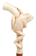 Decorative Arts, Continental:Other , CARVED IVORY AND WOOD FROG CANE . Circa 1900. 33-3/4 inches lengthoverall (85.7 cm). ...