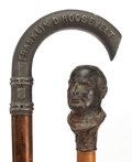 Decorative Arts, Continental:Other , TWO METAL AND WOOD PRESIDENTIAL CAMPAIGN CANES: MCKINLEY ANDROOSEVELT . Circa 1896 and 1932. 35-1/2 in... (Total: 2Items)