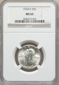 Standing Liberty Quarters: , 1924-D 25C MS65 NGC. NGC Census: (429/285). PCGS Population(489/95). Mintage: 3,112,000. Numismedia Wsl. Price for problem...