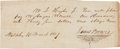 """Autographs:Military Figures, James """"Jim"""" Bowie Pay Order Signed...."""