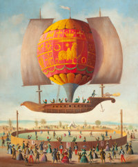 Attributed to VICTOR PHILIPPE LEMOINE-BENOIT (French, 1831-1850) Hot Air Balloon Oil on canvas 24