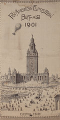Antiques:Decorative Americana, Rare Commemorative Ballooning Stevensgraph of the Pan-AmericanExposition of 1901....