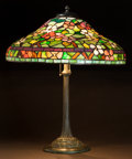 Lighting:Lamps, AN AMERICAN LEADED GLASS AND BRONZE TABLE LAMP . 20th century. 23-1/2 x 19-1/8 inches (59.7 x 48.6 cm). ...