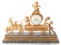 Decorative Arts, French:Other , A FRENCH GILT BRONZE AND MARBLE FIGURAL MANTLE CLOCK . Circa 1900.Marks to mechanism: A.1, 34. 18-5/8 x 25-1/8 x 8-1/2 ...