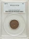 Indian Cents: , 1871 1C VF20 PCGS. PCGS Population (19/502). NGC Census: (12/422).Mintage: 3,929,500. Numismedia Wsl. Price for problem fr...