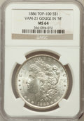 "Morgan Dollars, 1886 $1 Gouge In ""M"" MS64 NGC. Top-100, Vam-21. NGC Census:(49608/26156). PCGS Population (39566/17050). Mintage: 19,963,8..."