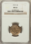 Buffalo Nickels: , 1919 5C MS62 NGC. NGC Census: (90/866). PCGS Population (49/1401).Mintage: 60,868,000. Numismedia Wsl. Price for problem f...