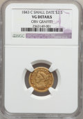 Liberty Quarter Eagles: , 1843-C $2 1/2 Small Date, Crosslet 4 -- Obv Graffiti -- NGCDetails. VG. NGC Census: (1/51). PCGS Population (0/52). Mintag...