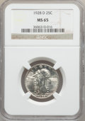 Standing Liberty Quarters: , 1928-D 25C MS65 NGC. NGC Census: (397/111). PCGS Population(563/77). Mintage: 1,627,600. Numismedia Wsl. Price for problem...