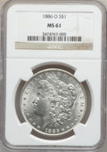 Morgan Dollars: , 1886-O $1 MS61 NGC. NGC Census: (487/861). PCGS Population(346/1402). Mintage: 10,710,000. Numismedia Wsl. Price for probl...