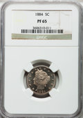 Proof Liberty Nickels: , 1884 5C PR65 NGC. NGC Census: (208/79). PCGS Population (194/47).Mintage: 3,942. Numismedia Wsl. Price for problem free NG...