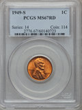 Lincoln Cents: , 1949-S 1C MS67 Red PCGS. PCGS Population (147/0). NGC Census:(988/0). Mintage: 64,290,000. Numismedia Wsl. Price for probl...