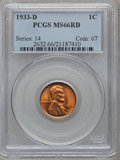 Lincoln Cents: , 1933-D 1C MS66 Red PCGS. PCGS Population (325/20). NGC Census:(572/78). Mintage: 6,200,000. Numismedia Wsl. Price for prob...