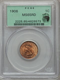Indian Cents, 1906 1C MS65 Red PCGS. Ex: Eagle Eye Photo Seal. PCGS Population(172/18). NGC Census: (256/72). Mintage: 96,022,256. Numis...
