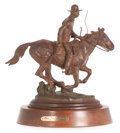 Sculpture, A KEITH CHRISTIE (American, b. 1935) PATINATED BRONZE: PONY EXPRESS, circa 1987. Bronze with yellow brown patina. 11...