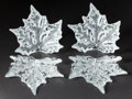 Art Glass:Lalique, A PAIR OF LALIQUE GLASS SCONCES: CHAMPS ELYSEES . Lalique, post1945. Marks: Lalique France . 10 inches (25.4 cm). ...(Total: 4 Items)