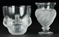 Art Glass:Lalique, TWO LALIQUE GLASS VASES: HIBOUX AND SPIRAL . Post1945. Marks: Lalique France. 5-7/8 inches high... (Total: 2Items)
