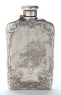 Silver Holloware, American:Flasks, A TIFFANY & CO. SILVER FLASK: MOTORING SCENE . Tiffany &Co., New York, New York, pattern circa 1892-1902. Marks:TIFFAN...