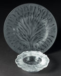 Art Glass:Lalique, A LALIQUE HONFLEUR PATTERN GLASS BOWL AND TREE OF LIFE PLATE. Late 20th century. 2 inches high x 6-1/2 inches ... (Total: 2Items)