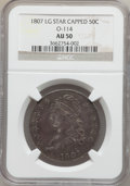 Bust Half Dollars, 1807 50C Capped Bust, Large Stars AU50 NGC. O-114, R.3....