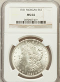 Morgan Dollars: , 1921 $1 MS64 NGC. NGC Census: (35388/8412). PCGS Population(23327/4187). Mintage: 44,690,000. Numismedia Wsl. Price for pr...