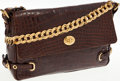 Luxury Accessories:Bags, Marc Jacobs Shiny Brown Crocodile Flap Bag with Gold Chain Strap....