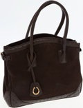 Luxury Accessories:Bags, CeCe Cord Brown Leather with Ostrich Trim Equestrian SignatureHorseshoe Charm Bag. ...