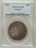 Bust Half Dollars: , 1811 50C Large 8 VF30 PCGS. PCGS Population (10/334). NGC Census:(24/806). Mintage: 1,203,644. Numismedia Wsl. Price for p...