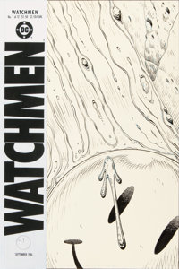 "Dave Gibbons Historic Watchmen #1 ""Bloody Smiley Face/Doomsday Clock"" Cover Original Art (DC, 1986)"