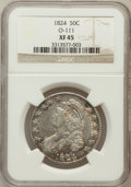 Bust Half Dollars: , 1824 50C XF45 NGC. O-111. NGC Census: (89/618). PCGS Population(125/583). Mintage: 3,504,954. Numismedia Wsl. Price for pr...