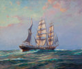 Maritime:Paintings, FRANK VINING SMITH (American, 1879-1967). Bark 'Coriolanus',Last of the Windjammers. Oil on canvas. 34 x 40 inches (86....