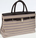 Luxury Accessories:Bags, Asprey Brown Leather and Canvas Baby Stretch Top Handle Bag. ...