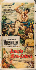 "Movie Posters:Adventure, Jungle Man-Eaters (Columbia, 1954). Three Sheet (41"" X 78"").Adventure.. ..."