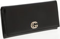 Luxury Accessories:Accessories, Gucci Black Leather Continental Wallet with Silver Logo. ...