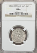 Seated Quarters, 1853 25C Arrows and Rays MS61 NGC....