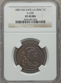Large Cents, 1803 1C Small Date, Large Fraction XF45 NGC. S-258, B-17, R.1....