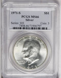 Eisenhower Dollars: , 1971-S $1 Silver MS66 PCGS. PCGS Population (1380/209). NGC Census: (582/65). Mintage: 2,600,000. Numismedia Wsl. Price: $2...