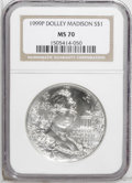 Modern Issues: , 1999-P $1 Dolley Madison Silver Dollar MS70 NGC. NGC Census: (0/0).PCGS Population (92/0). Numismedia Wsl. Price: $240. (...