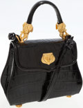 Luxury Accessories:Bags, Vicenza Shiny Black Alligator Top Handle Bag with Gold ElephantHardware. ...