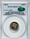 Proof Three Cent Nickels, 1874 3CN PR66 Cameo PCGS. CAC....