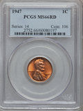 Lincoln Cents: , 1947 1C MS66 Red PCGS. PCGS Population (441/10). NGC Census:(1262/42). Mintage: 190,555,008. Numismedia Wsl. Price for pro...